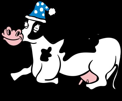 眠っている牛のイラスト